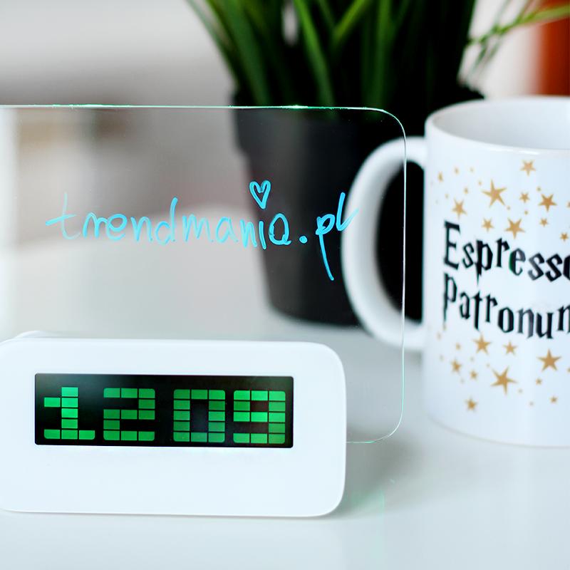 Cyfrowy zegar z podświetlaną tablicą + mazak do pisania