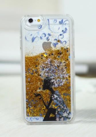 Obudowa 3D - STARDUST - z płynem w środku - złoty z wzorem dziewczyna kwiaty